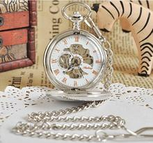 Newest Fashion Retro Skeleton Dial Mens Antique Steampunk Mechanical Pendant Pocket Watch+Chain Silver