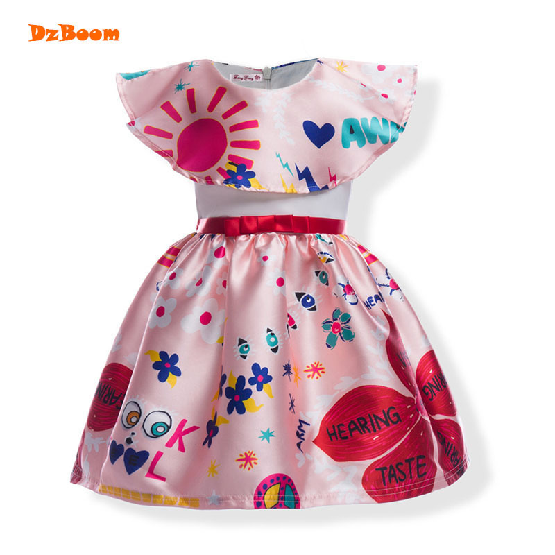 DzBoom Girl Dress Baby Kids Summer 2017 Flower Sundress Toddler Girls Sleeveless Princess Party Beach Casual Kids Dresses toddler kids baby girls boho long foral princess party dress prom beach maxi sundress print lovely casual long sleeve dresses
