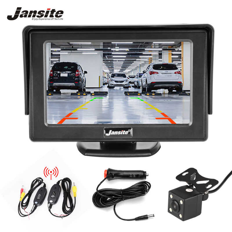 "Jansite 4.3"" Wireless TFT Car monitor Car Rear View Monitor Parking Rearview System for Backup Reverse Cameras Support DVD VCD"