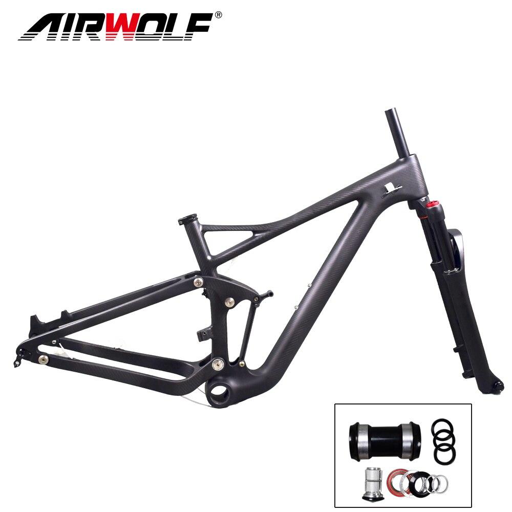 Airwolf Enduro Bike 29er Suspension Carbon MTB Frame with Tapered suspension mtb fork travel 130mm 29er