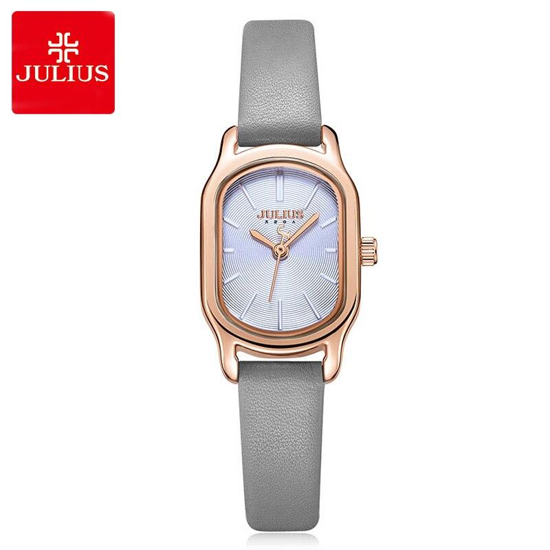 New Lady Women's Watch Japan Quartz Elegant Small Fashion Simple Hours Real Leather Bracelet Clock Girl Birthday Gift Julius Box