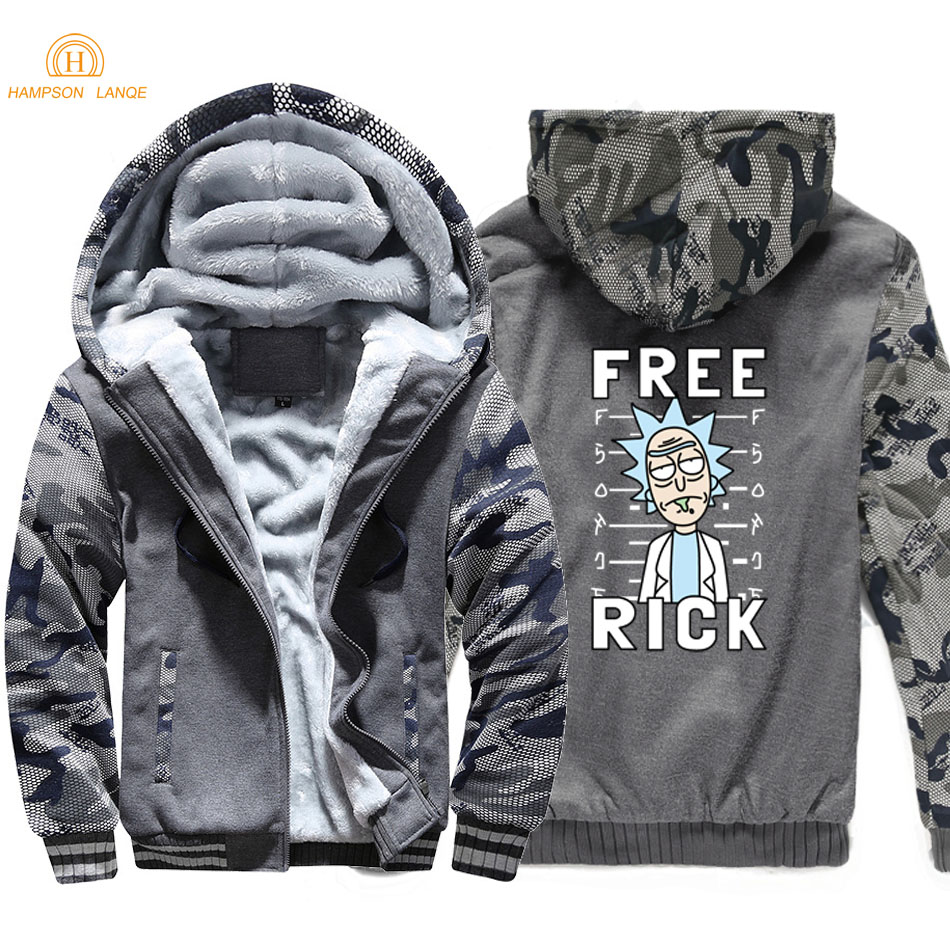 Rick And Morty Free Rick Printed Funny Hoodies Men 2019 Winter Thick Camouflage Sleeve Hooded Men Warm Fleece Anime Sweatshirts in Hoodies amp Sweatshirts from Men 39 s Clothing