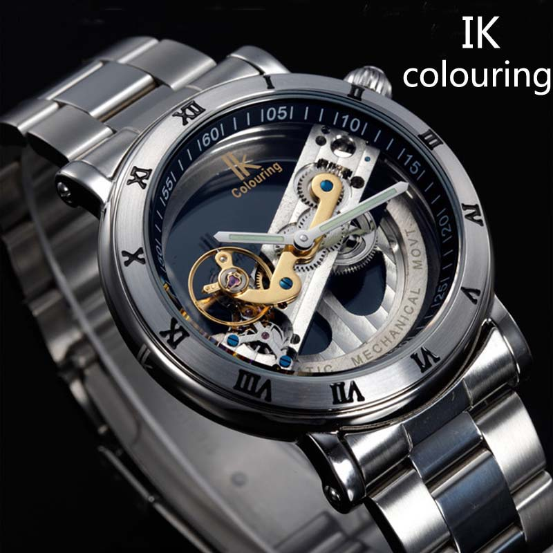 New Design font b Watches b font steel Brand Ik Colouring Hollow Automatic Mechanical font b