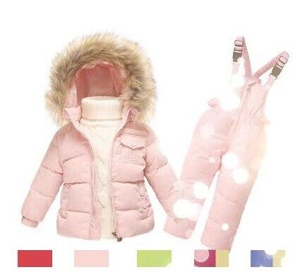 Горячие продажа Дети Зимняя Одежда устанавливает Мальчики Лыжный Костюм утки Вниз куртка с капюшоном Пальто плюс Комбинезон Набор Детей Baby Boy Девушка Одежда