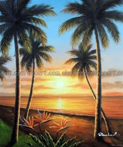 100 hand painted hawaii sunset sandy beach palms bird of