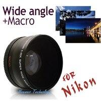 Neewer 52MM 0 45X Wide Angle Lens Macro Lens Bag For Nikon D5000 D5100 D3100 D7000