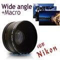 Neewer 52MM 0.45X Wide Angle Lens + Macro + Lens Bag for Nikon D5000 D5100 D3100 D7000 D3200 D80 D90  free shipping