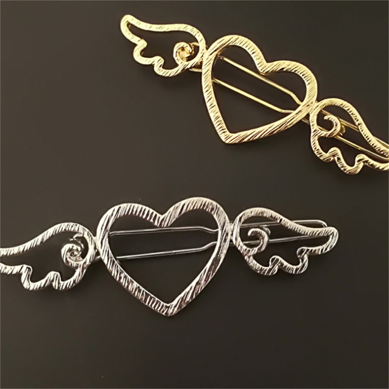 Fashion Girl Metal Hollow Angel Wings Love Heart Gold/Silver Color Barrette Clips Side Hair Pins Hair Styling Accessories