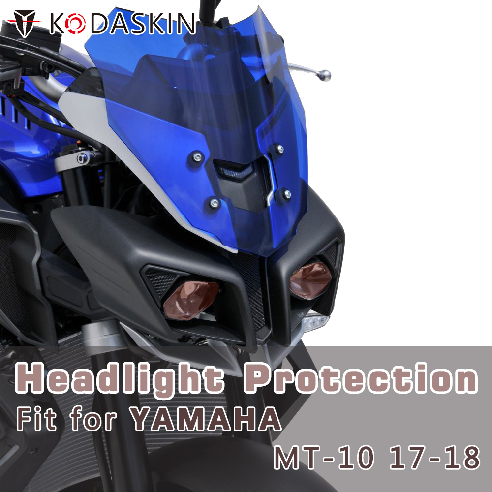 KODASKIN Motorcycle ABS Front Headlight Cover Protection Screen Lens For Yamaha MT-10 2017-2018