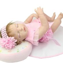 Rooed Mohair Boneca Full Silicone Vinyl Bodied Girl Reborn Baby Doll 22 Inch Princess Girls Sleeping Newborn Dolls Kids Playmate