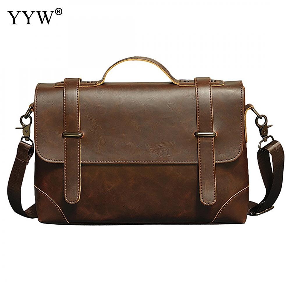 A Case For Documents Tote Bags For Men Black PU Leather Handbag Men's Executive Briefcase Business Male Bag Brown Portfolio