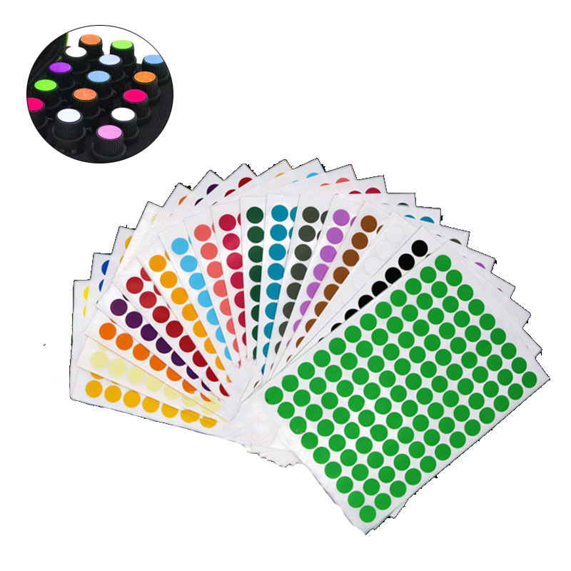 Colorful Empty Papers Sticker For Glass Essential Oil Bottle Cap Lid Labels Blank Round Circles Stickers