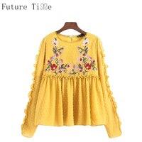 Future Time Women Chiffon Blouse Dark Yellow Lace Shirts Flower Embroidery Long Sleeve Blouse Ruffles Tops