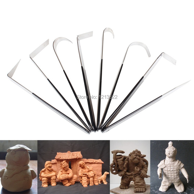 8Pcs/Set Pottery Wheel Carving clay Pottery Ceramic Tools Polymer Craft tool trimming Sculpting Sculpt Smoothing Hand Tool