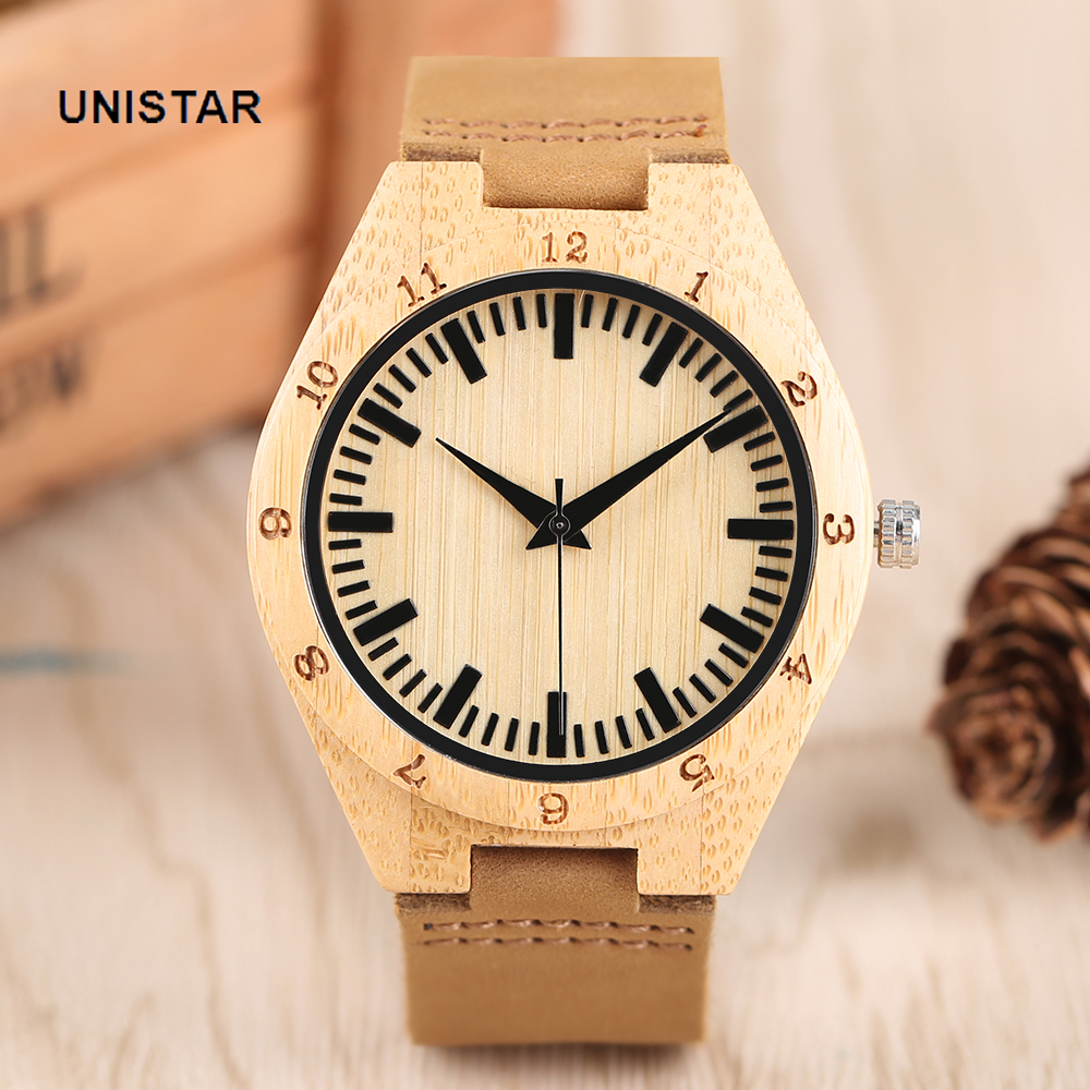 UNISTAR  Casual Natural Wooden Quartz Watches With Double Dial Genuine Leather Band Cool Gift For Men Women Children With Box simple fashion hand made wooden design wristwatch 2 colors rectangle dial genuine leather band casual men women watch best gift