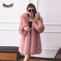 BFFUR Natural Fur Fox Fur Coats Thicken Warm Winter Wide Strips Fox Fur Outerwear Gigh End
