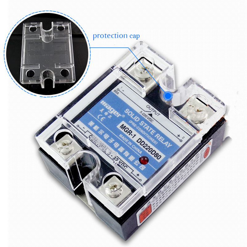 Free shipping 2pc 80A Industrial use Mager SSR 80A DC-DC Single phase solid state relay 80A Quality MGR-1 DD220D80 ssr mgr 1 d4860 meike er normally open type single phase solid state relay 60a dc ac