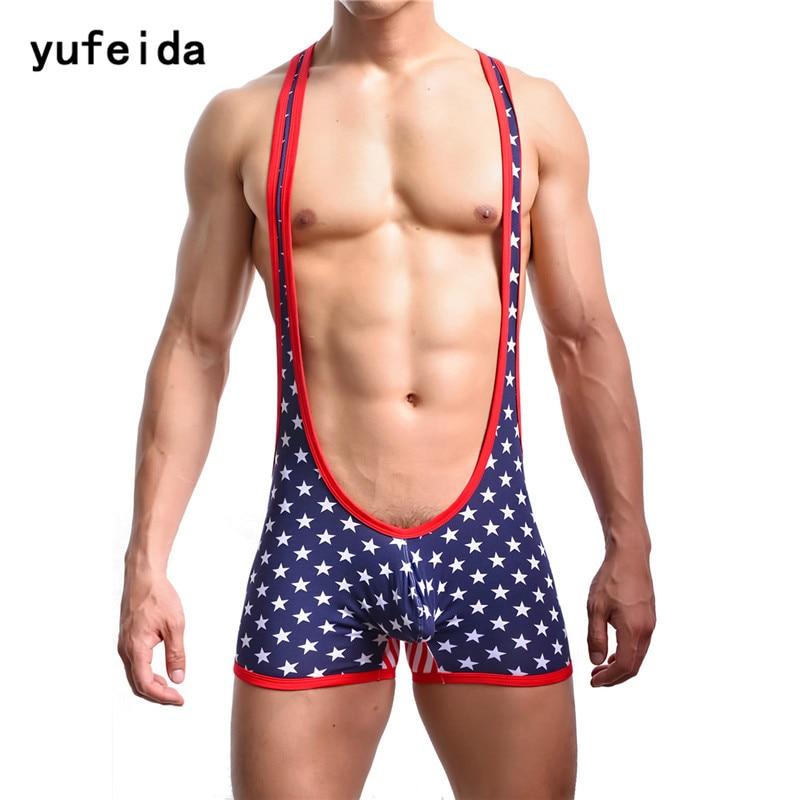 913cc8082 YUFEIDA Sexy Men s Bodybuilding Wrestling Singlet Cotton Jumpsuit ...