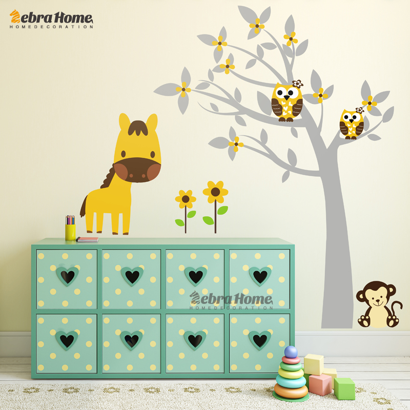 4 Cute Monkeys Wall Decals Sticker Nursery Decor Mural: Fawn Owl Monkey And Flower Wall Decal Stickers Wallpaper