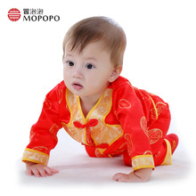 Mopopo Chinese Tang Style Newborn Baby Boy Clothes Long Sleeve Set Boys Baby Clothing Clothes Tops Coat+Pants With Hat 3pcs