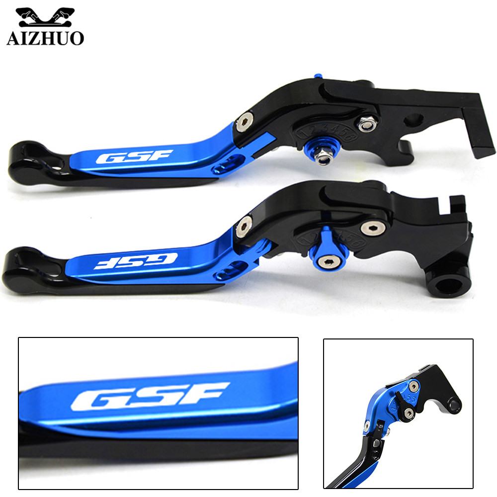 For Suzuki GSF 650 1200 1250 Bandit With GSF LOGO Motorcycle Clutch Brake Lever Aluminum Extendable Adjustable Foldable Levers cnc 6 position folding foldable extendable brake clutch lever for suzuki bandit 1200 2001 2006