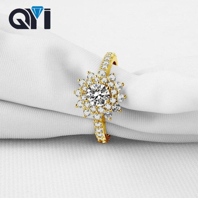 QYI 14K Solid Yellow Gold Rings Women Fashion Jewelry Round Sona Simulated Diamond Engagement Wedding Band Ring