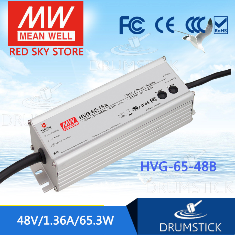MEAN WELL HVG-65-48B 48V 1.36A meanwell HVG-65 48V 65.3W Single Output LED Driver Power Supply B type [powernex] mean well original hvg 65 54d 54v 1 21a meanwell hvg 65 54v 65 3w single output led driver power supply d type