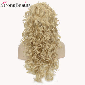 Image 3 - StrongBeauty 26 אינץ סינטטי חצי פאה ארוך מתולתל שיער פאות עם סרטי ראש טבעי לחתוך שיער סגנון לנשים