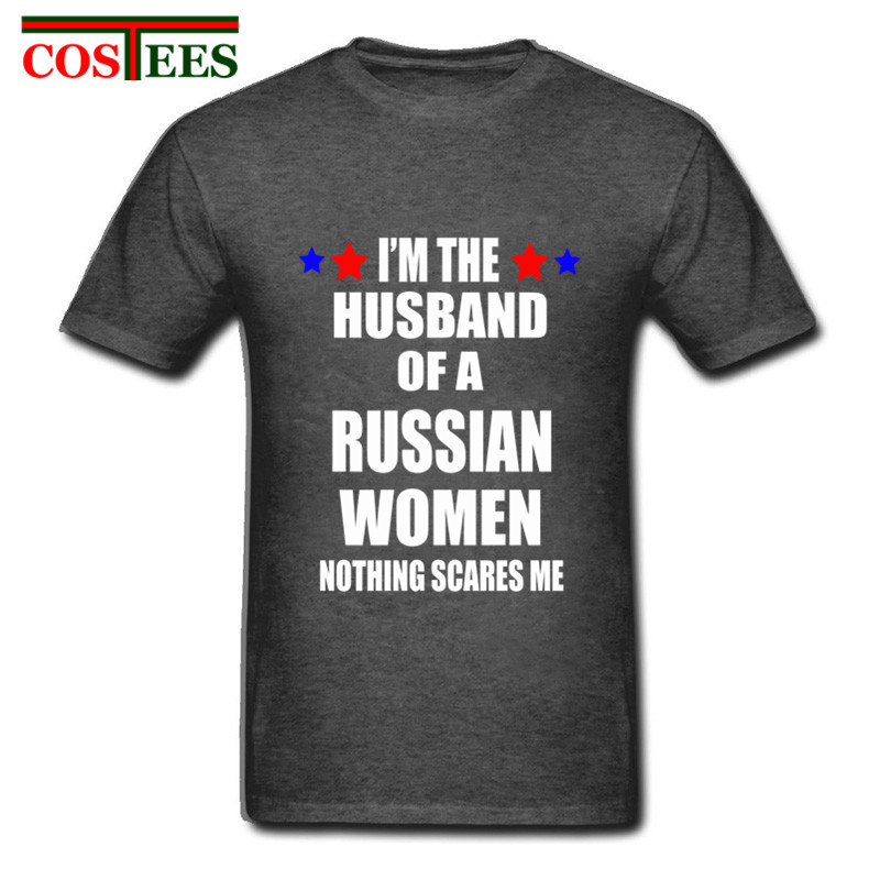 Funny letter Print T Shirt Men O-Neck Short Sleeve I'M THE HUSBAND OF A RUSSIA WOMEN NOTHINGS SCARES ME Graphic Printed T-shirts image