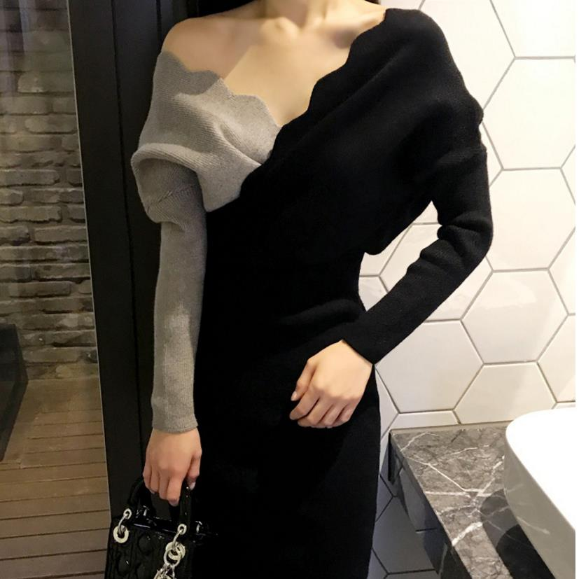 2018 new womens V-neck knit sweater long sweater dress