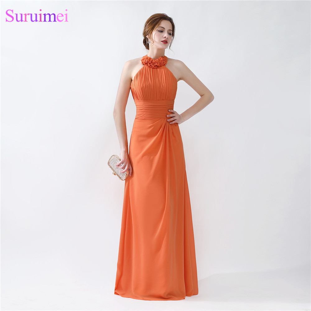 Real sample Halter Orange Bridesmaid Dresses 2018 Halter Floor Length  Pleated Peach Chiffon On Sale Cheap Bridesmaid Gowns on Aliexpress.com  ffdb361c5cd3