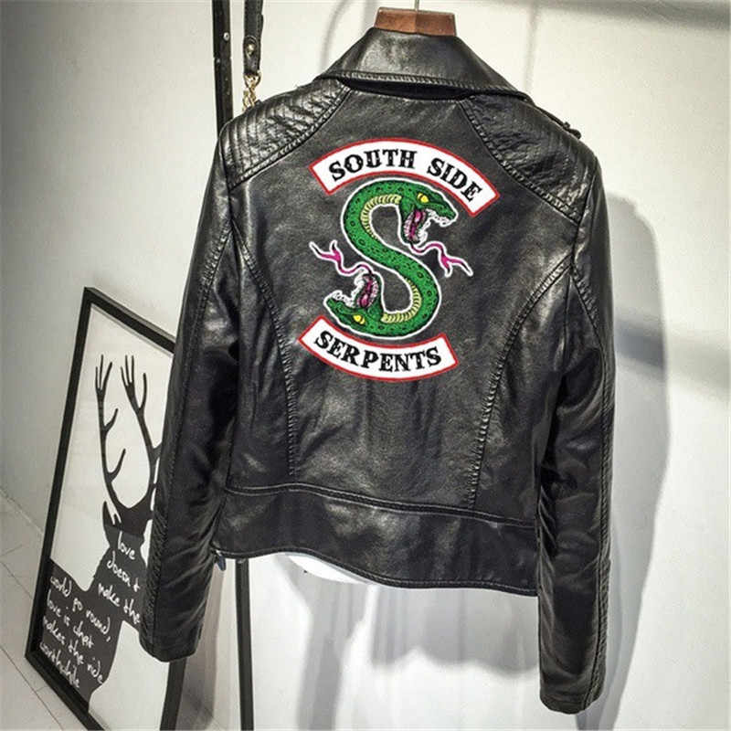 Print Logo Southside Riverdale Serpents PU Leather Jacket Women Riverdale Serpents Streetwear Leather Coat Zip Motorcycle Outfit