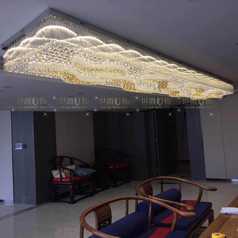 Grande lâmpada de cristal retangular de engenharia do hotel lobby salão departamento de vendas estilo auspicioso nuvem lâmpada do teto conduziu a iluminação