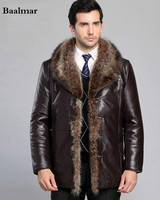 2016 Nueva moda Otoño Invierno de cuero de los hombres Pieles de animales mapache chaqueta abrigo Pieles de animales cuero negro Chaquetas para hombres Dropship Veste cuir homme