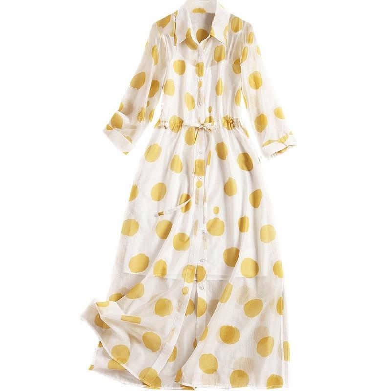 Dot Été Jaune Ceintures Manches Turn Collar 2019 Robes Designers Avec Trois Shuchan down Trimestre Robe Droite Chemise Mode SR5dqpw