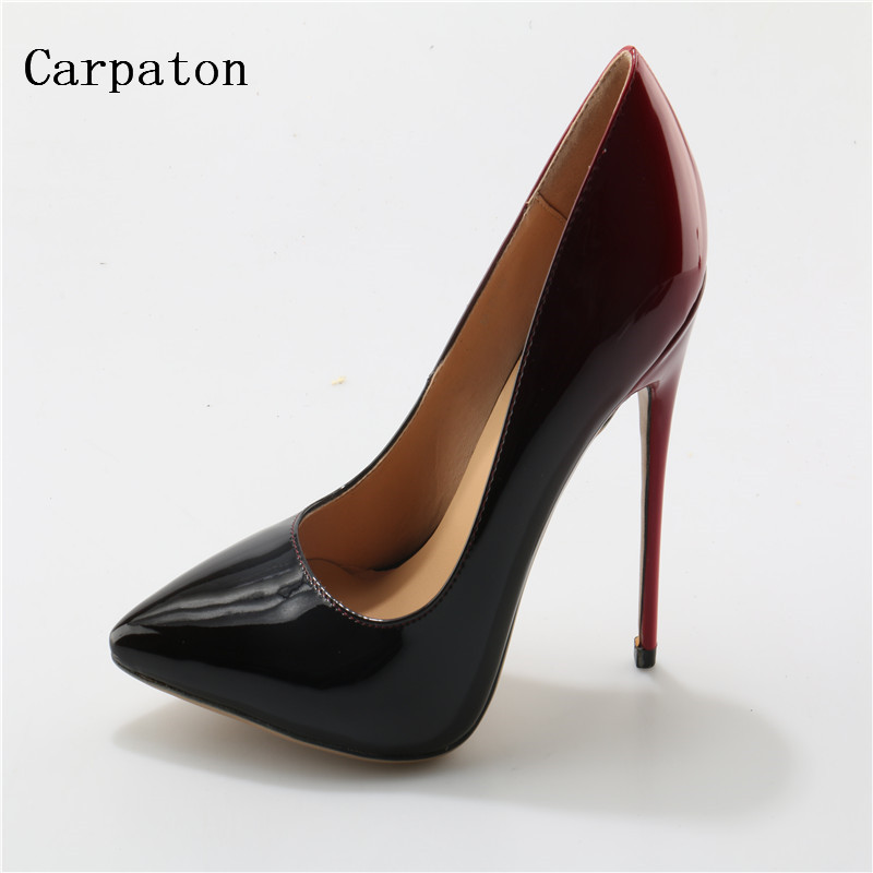 New Fashion Colorized Women Sexy High Heel Pumps Sexy Red/black Color Patchwork Thin Heels Changeable Color Dress Shoes