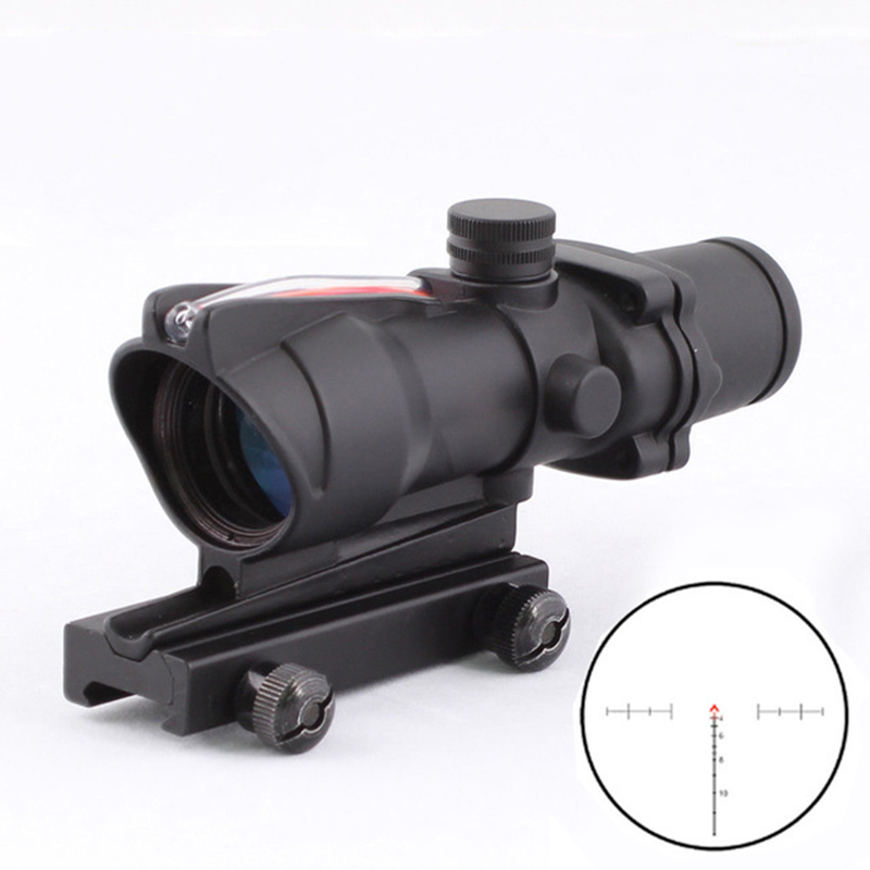 Tactical Hunting Rifle Scope Optic Sight Airsoft ACOG 4X32 Airsoft Scope Real Red Fiber Riflescope