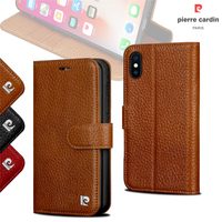 Pierre Cardin Flip Case For iPhone X Original Phone Genuine Leather Wallet Case For iPhone X Magnet Flip Cover For iPhoneX Coque