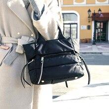 Kadın kış uzay balya çanta rahat pamuk tote çanta aşağı tüy yastıklı bayan omuz Crossbody çanta