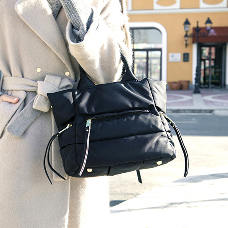 LOSLANDIFEN 2020 Fashion Women Winter Space Bale Handbag Casual  Cotton Totes Bag Down Feather Padded Lady Shoulder Crossbody  BagTop-Handle Bags