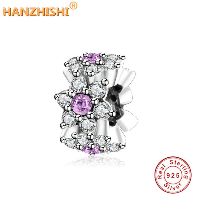 e23fb2374 Forget Me Not Spacer Charms With Purple Clear CZ Fits Original Pandora  Charms Bracelet Jewelry Making 925 Sterling Silver Beads