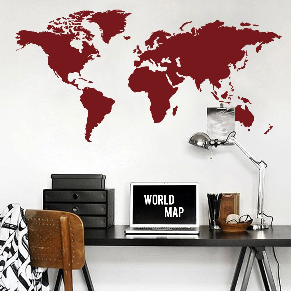 World map wall decal the whole world atlas vinyl wall art sticker world map wall decal the whole world atlas vinyl wall art sticker home office decor 64h x 32w in underwear from mother kids on aliexpress alibaba amipublicfo Images