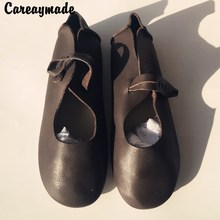 2016 New Spring Head layer cowhide pure handmade shoes the retro art mori girl A buckle flat singles shoes, Coffee&Brown