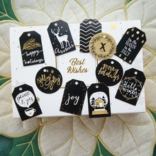 11 style mix Christmas tag 50 pcs gold black classic design as paper labels packaging gift decoration tags Scrapbooking DIY