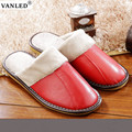 2017 New Arrival Hot Sale Autumn Winter Leather Home Slippers Women Indoor\ Floor Outdoor Slippers Girls Warm Flat Shoes