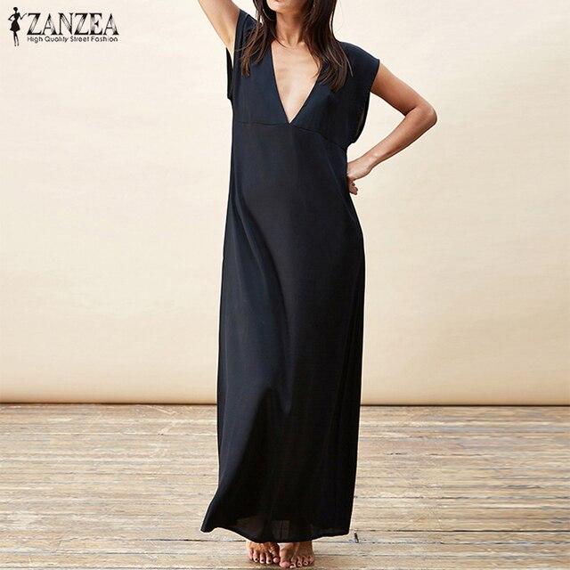 79e631a764 2018 ZANZEA Elegant Short Sleeve Loose Work OL Long Vestido Summer Fashion  Women Sexy Solid Low Cup Beach Party Club Maxi Dress