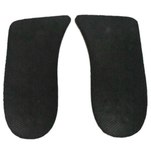 2x Man Black Soft Silicone Double Layer 2 Up Shoes Pads Height Insoles Pair