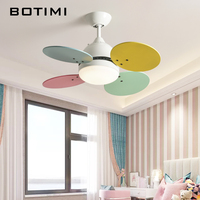 BOTIMI Kids Led Ceiling Fans With Light For Living Room 220V Ventilator Modern Ceiling Fan Lamp Hanging Lighting Fan Fixture