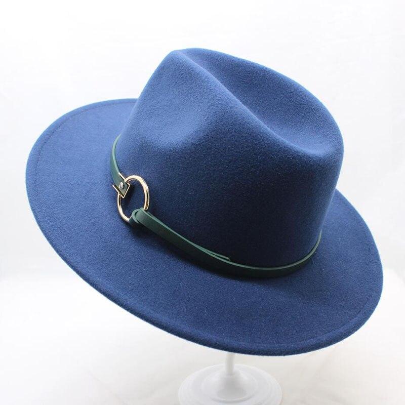 63e044210d9 HTB1YDTrt5OYBuNjSsD4q6zSkFXaJ SUOGRY Winter Fedora Hat with women s  Wide-Brimmed Metal Strap Felt Men Fedora Hat
