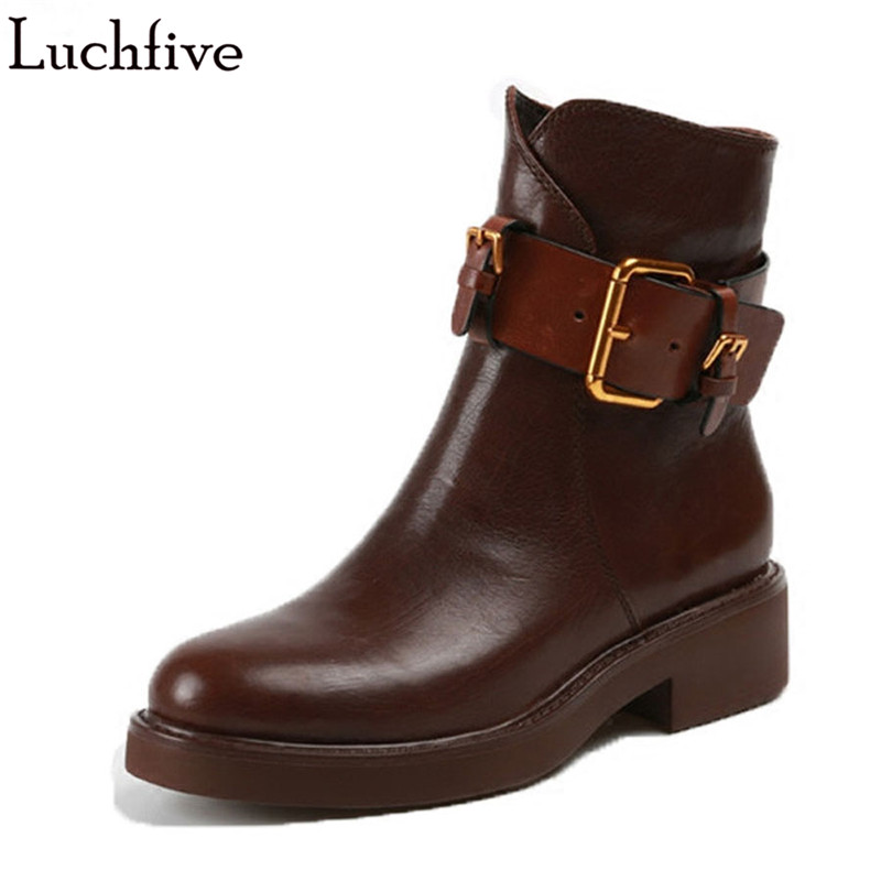 British style high quality leather Ankle Boots For women black brown buckles strap Motorcycle Martin boots snow Shoes Woman fall trendboots in europe and america heavy bottomed martin boots british style high top shoes shoes boots sneakers